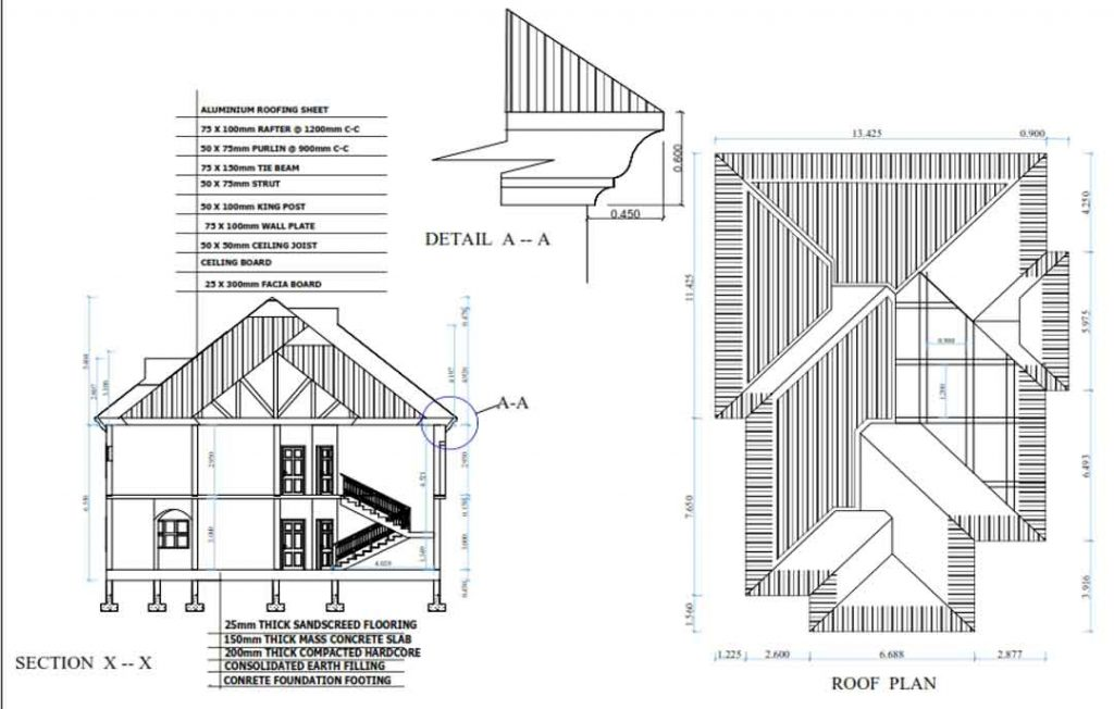 house plan drawing section