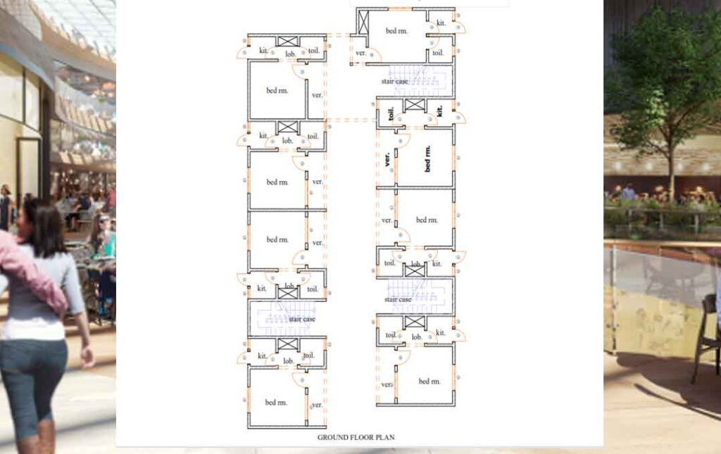 self-contained floor plan